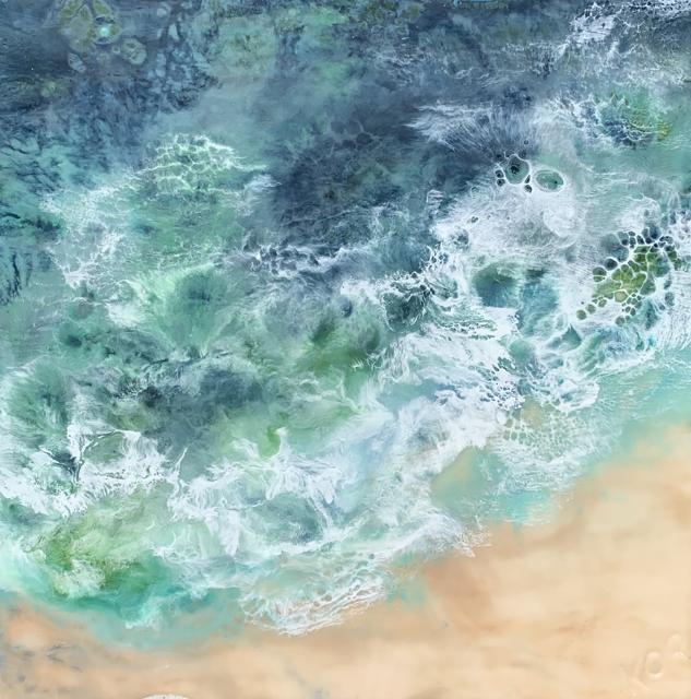 "Kathy Ostrander Roberts | Peaks Island Summer | Encaustic on Birch Panel | 18"" X 18"" | $1,600.00"