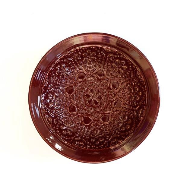 "Richard Winslow | Red Textured Dish | Ceramic | 3"" X 10.5"" | $95.00"
