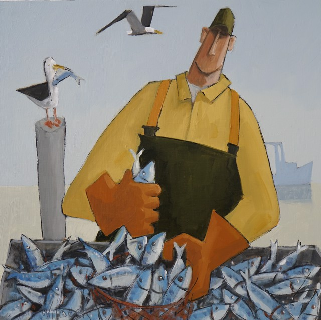 """David Witbeck   Bagging Bait   Oil on Panel   12"""" X 12""""   Sold"""