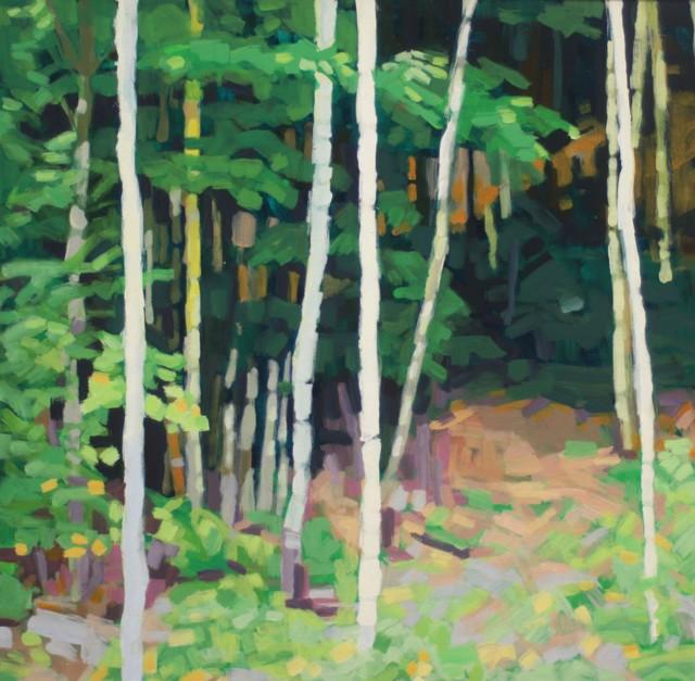 "Liz Hoag | Into the Woods | Acrylic on Canvas | 24"" X 24"" | Sold"