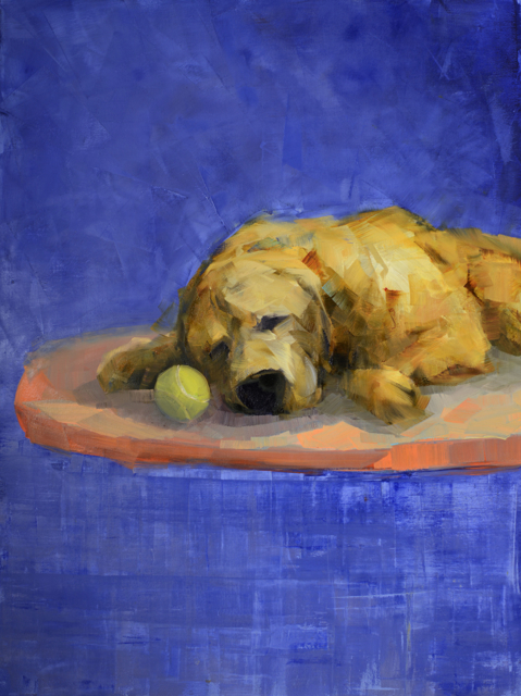 "Rebecca Kinkead | Golden Dog Dreaming | Oil and Wax on Linen | 40"" X 30"" 