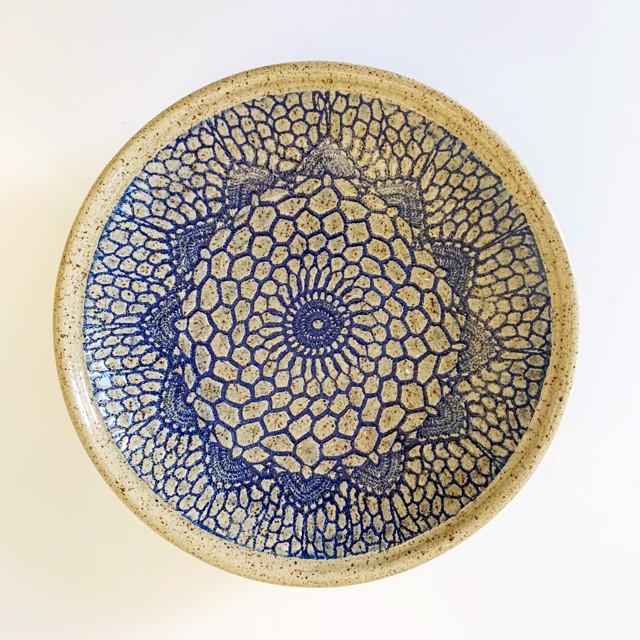 "Richard Winslow | Blue Textured Dish | Ceramic | 2"" X 11.5"" | $95.00"