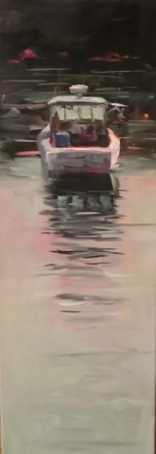 "Sandra L. Dunn | Morning Harbor Light | Oil on Canvas | 30"" X 10"" | Sold"