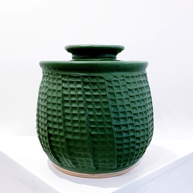 """Richard Winslow   Textured Pot with Lid in Green   Ceramic   6"""" X 6""""   $80.00"""