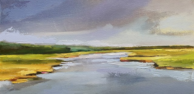 "Claire Bigbee | Lavender Marsh, Batson River Saltmarsh | Oil on Canvas | 10"" X 20"" | Sold"