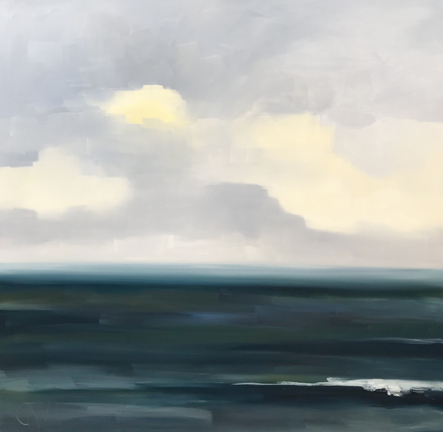 "Jill Matthews | Teal Sea Shifting Weather | Oil on Canvas | 36"" X 36"" 