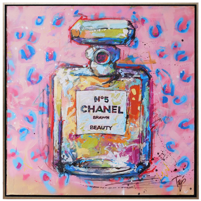 "Trip Park | Groovy Chanel | Mixed Media on Canvas | 36"" X 36"" 