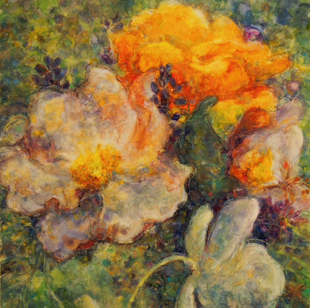 "Susan Wahlrab | Bloom | Varnished Watercolor on Archival Clayboard | 16"" X 16"" 