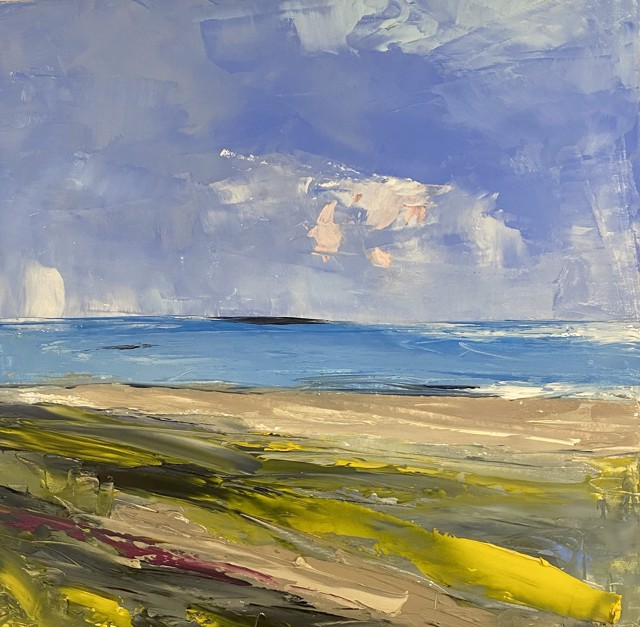 "Janis H. Sanders | Summer Shoreline 2 | Oil on Panel | 12"" X 12"" | Sold"