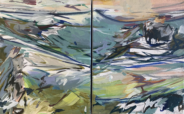 "Jeffrey T. Fitzgerald | Pulling Through - Diptych  | Acrylic on Canvas | 10"" X 16"" 