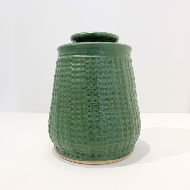 "Richard Winslow | Green Textured Lidded Pot Large | Ceramic | 8"" X 6.5"" | $95.00"