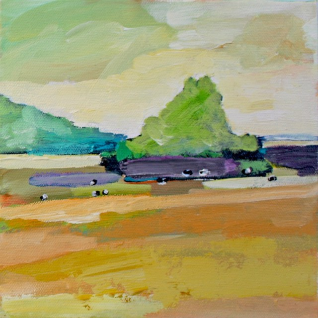 "Claire Bigbee | Buttercup Pastures at Wolf's Neck Farm #1 | Oil | 8"" X 8"" 