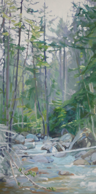 "Liz Hoag | Middle of the Stream | acrylic | 48"" X 24"" | Sold"