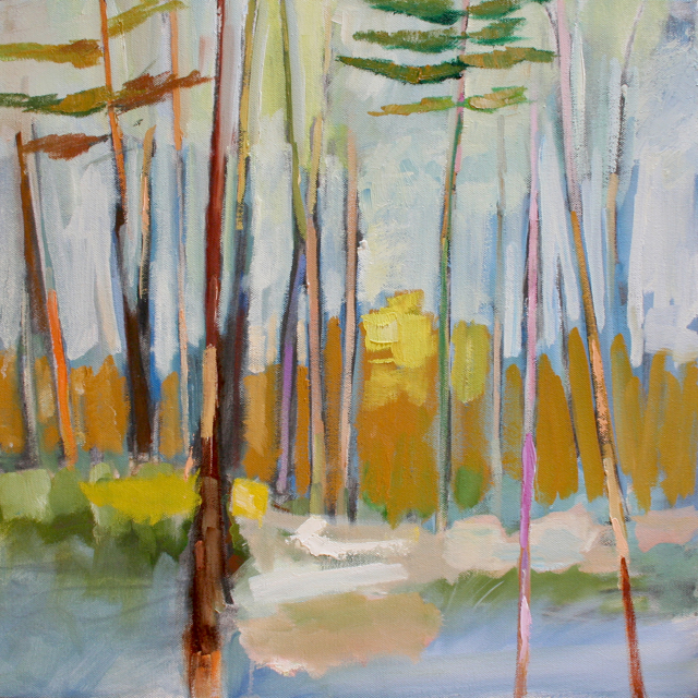 "Claire Bigbee | Through the Treetops | Oil on Canvas | 18"" X 18"" 