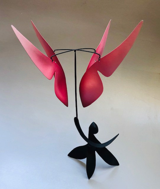 "Mark Davis | Guardian Angel | Standing Mobile in Brass and Aluminum with Steel Wires | 16"" X 9"" 