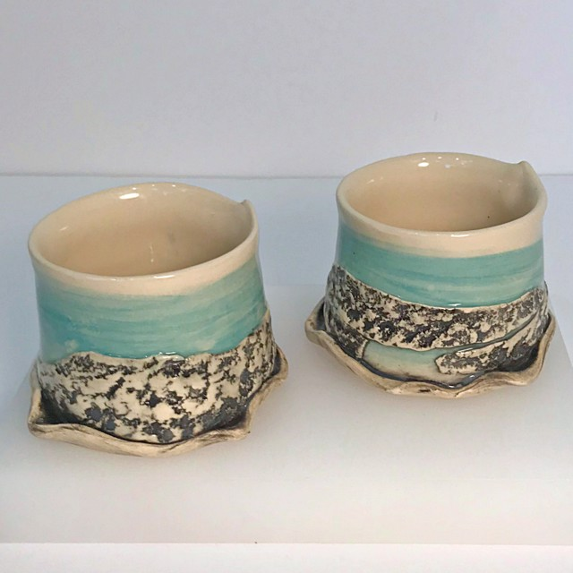 "Brendan Roddy | Blue Lagoon Tumbler | Ceramic | 2.75"" X 4"" | $40.00"
