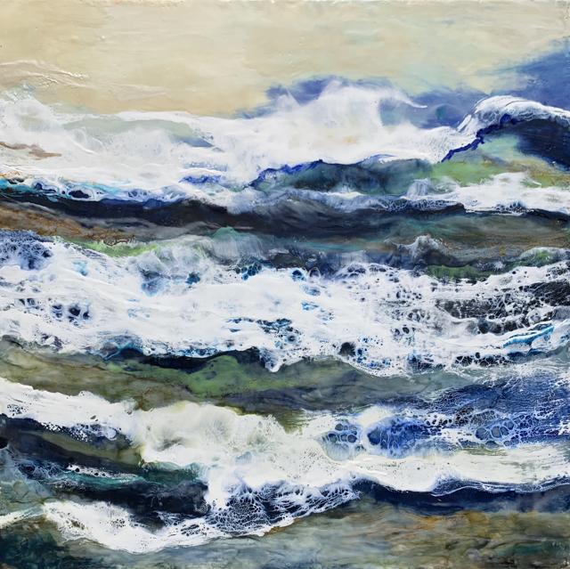 "Kathy Ostrander Roberts | Breakers and Waves  | Encaustic | 40"" X 40"" | Sold"