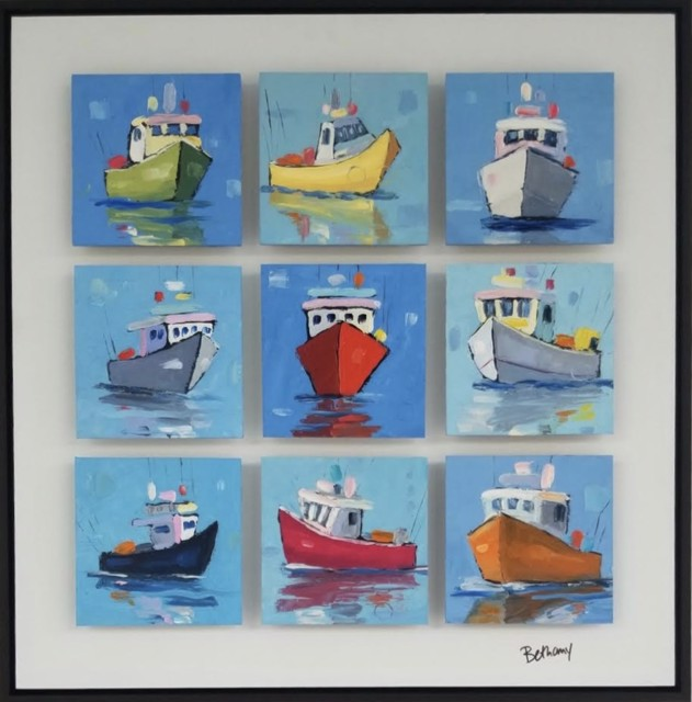 """Bethany Harper Williams   Lobster Boat Collage      25.25"""" X 25.25""""   Sold"""