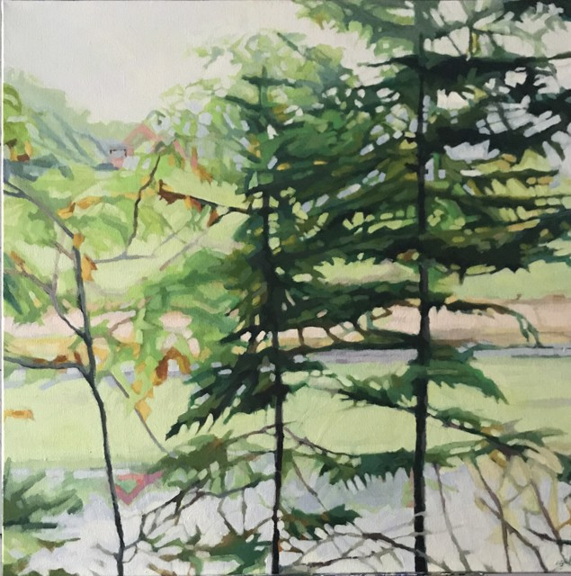 "Liz Hoag | Pink Shore | Acrylic on Canvas | 30"" X 30"" | $2,600.00"