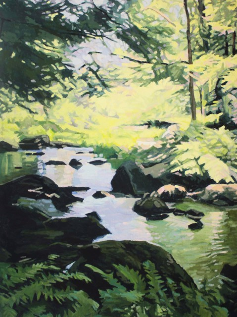 "Liz Hoag | Duck Trap River | Acrylic on Canvas | 48"" X 36"" | Sold"