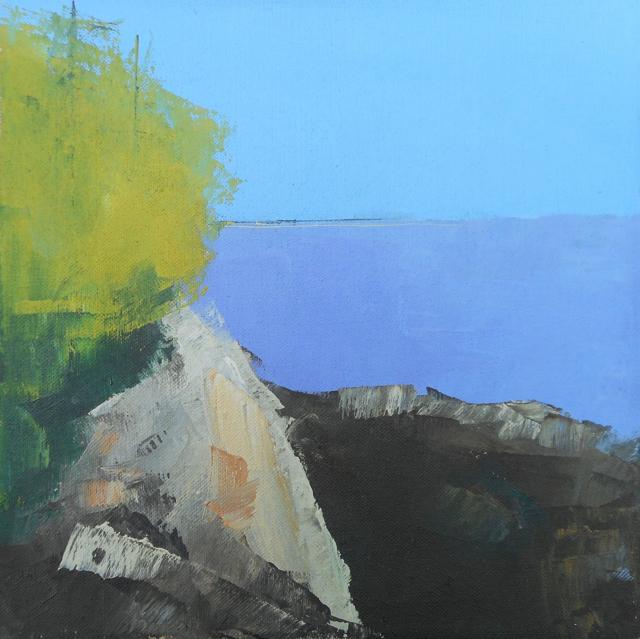 "Janis H. Sanders | Coastline View | Oil on Canvas | 10"" X 10"" | Sold"