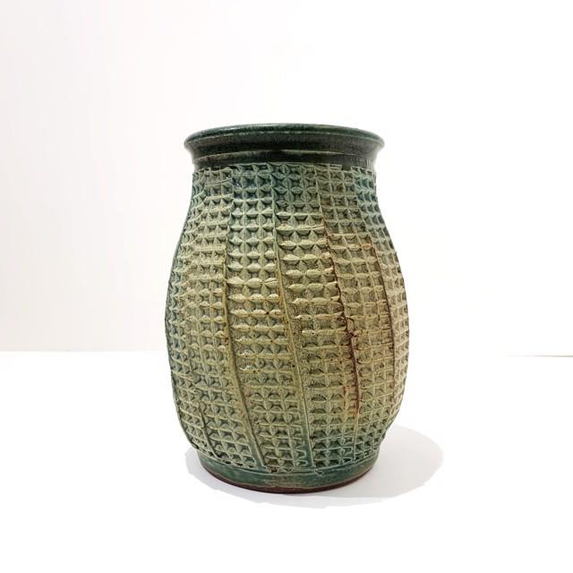 "Richard Winslow | Green Textured Vase | Ceramic | 7"" X 5.5"" | Sold"