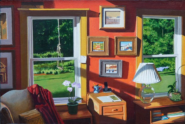 "William B. Hoyt | Red Room | Oil on Panel | 8"" X 12"" 