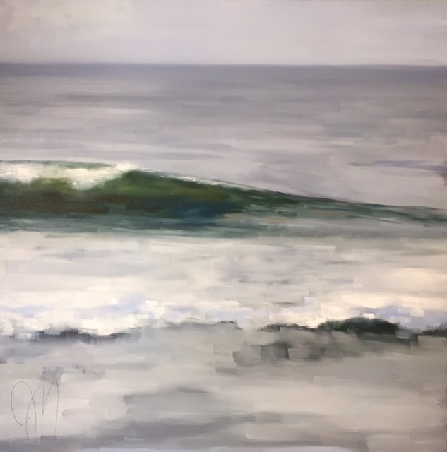 "Jill Matthews | Emerald Wave | Oil on Canvas | 36"" X 36"" 