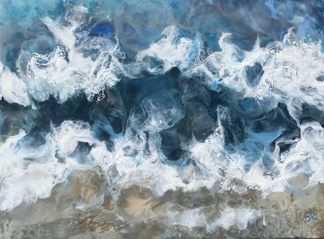 "Kathy Ostrander Roberts | Dark and Stormy Seas | Encaustic on Panel | 18"" X 24"" 