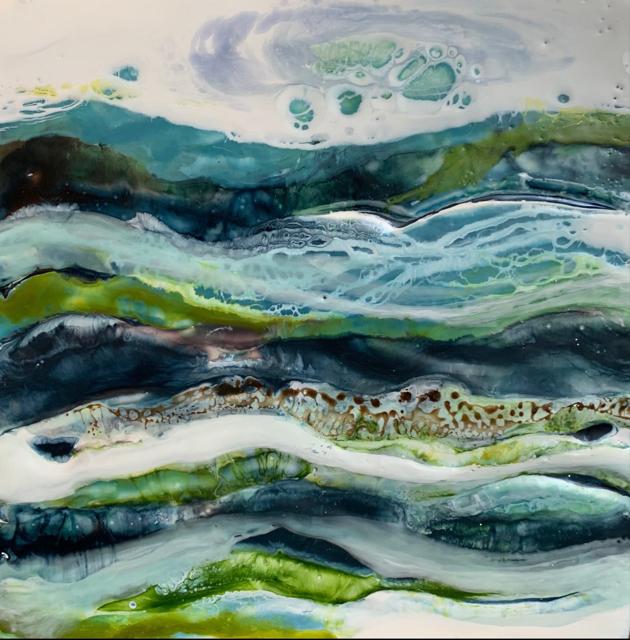 "Kathy Ostrander Roberts | So Far Away | Encaustic on Birch Panel | 8"" X 8"" | Sold"