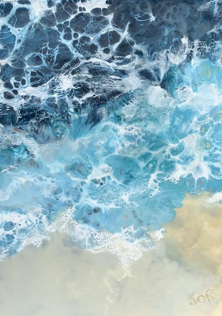 "Kathy Ostrander Roberts | Storm at Sea | Encaustic on Birch Panel | 24"" X 18"" | Sold"