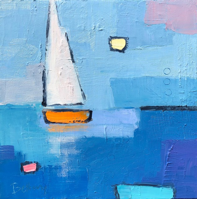 "Bethany Harper Williams | A Sunny Sail | Oil on Canvas | 12"" X 12"" 