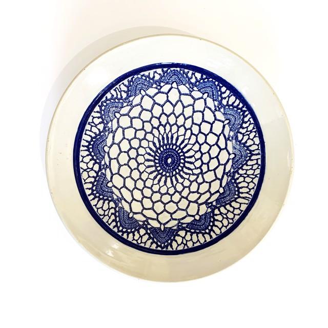 "Richard Winslow | Blue & White Textured Dish | Ceramic | 2.25"" X 11.5"" | $95.00"