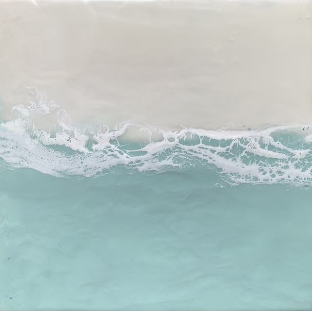 "Kathy Ostrander Roberts | Autumn Sea | Encaustic | 8"" X 8"" | Sold"