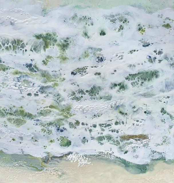 "Kathy Ostrander Roberts | Coral Reef | Encaustic on Birch Panel | 30"" X 30"" | $3,000.00"