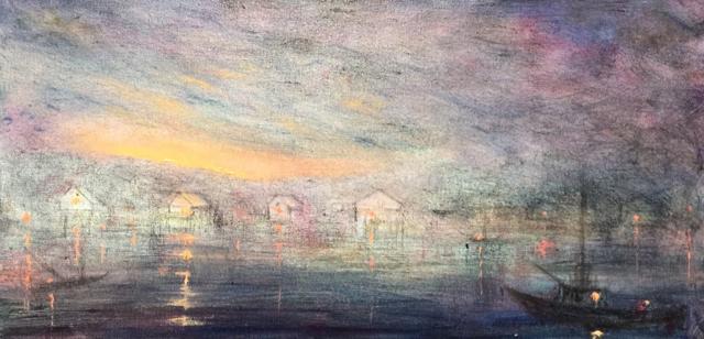 "John LeCours | Cape Porpoise at Twilight | Oil on Canvas | 10"" X 20"" | Sold"