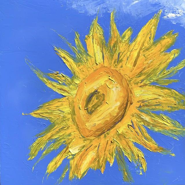 "Janis H. Sanders   Sunflower I   Oil on Panel   12"" X 12""   $750.00"