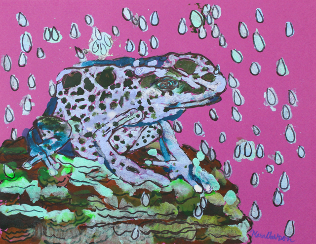 Blue Frog Under the Rain Drops (FRAMED)