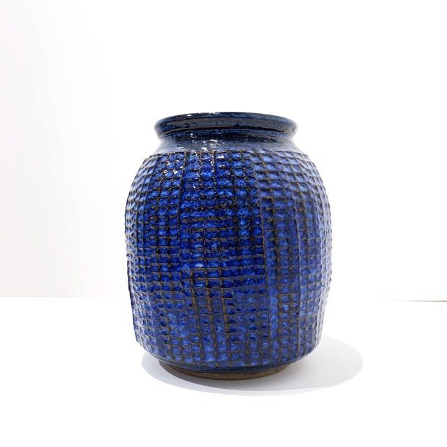 "Richard Winslow | Large Blue Textured Vase | Ceramic | 7.5"" X 6.5"" | $90.00"