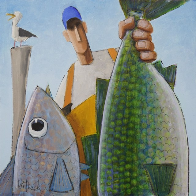 """David Witbeck   Fred   Oil on Panel   12"""" X 12""""   Sold"""