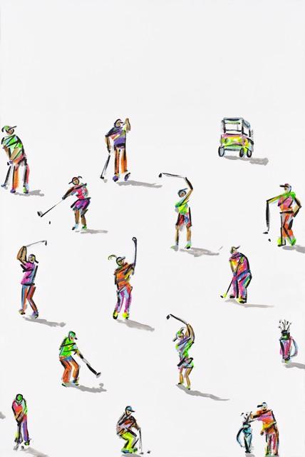 "Heather Blanton | Golfers With Neon | Acrylic on Canvas | 30"" X 20"" | $3,250.00"