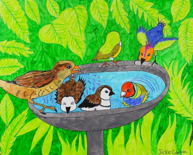 Birds Taking A Bath (FRAMED)
