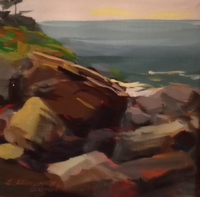 "Sandra L. Dunn | Monhegan Rocks, August 2 | Oil on Canvas | 8"" X 8"" | Sold"