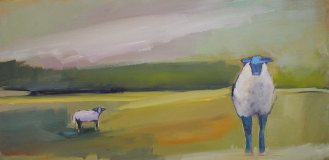 "Claire Bigbee | Sheep & Lamb in Buttercup Fields | Oil | 15"" X 30"" 