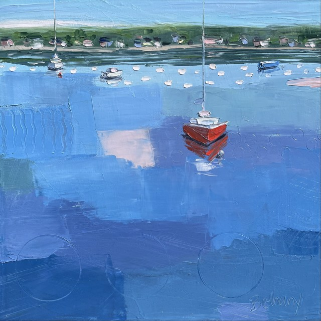 """Bethany Harper Williams   Red Sailboat   Oil on Canvas   14"""" X 14""""   Sold"""