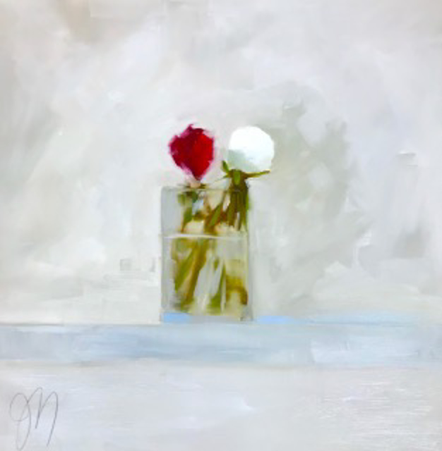 "Jill Matthews | White Peony | OIl on Canvas | 24"" X 24"" 