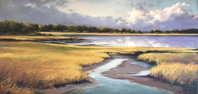 "Margaret Gerding | Biddeford Pool | Oil on Canvas | 30"" X 60"" 