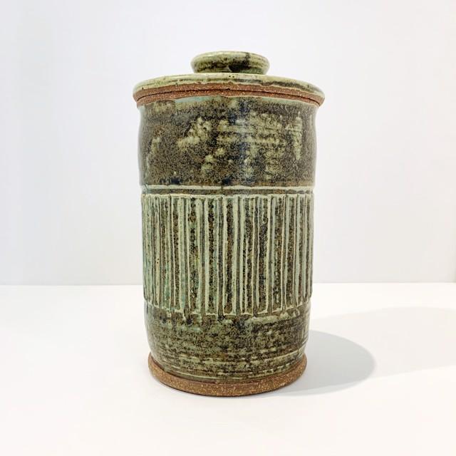 "Richard Winslow | Tall Jade Lidded Pot Medium | Ceramic | 9"" X 5.25"" | $100.00"