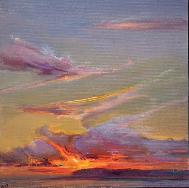 "Holly Ready | Last Glow | Oil on Canvas | 10"" X 10"" | $850.00"