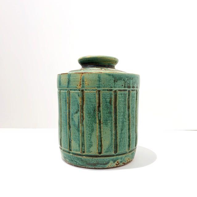 "Richard Winslow | Jade Lidded Pot | Ceramic | 8.5"" X 6.5"" | Sold"